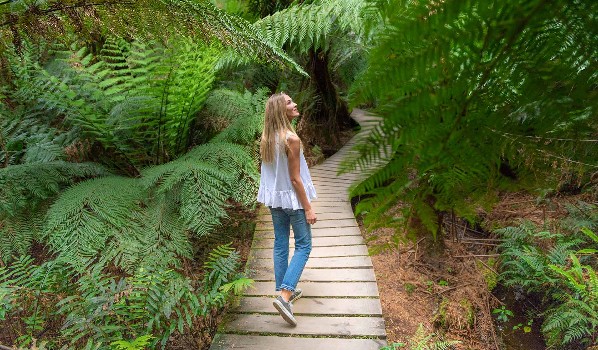 A woman walks along the boardwalk at Maits Rest in the Great Otway National Park.