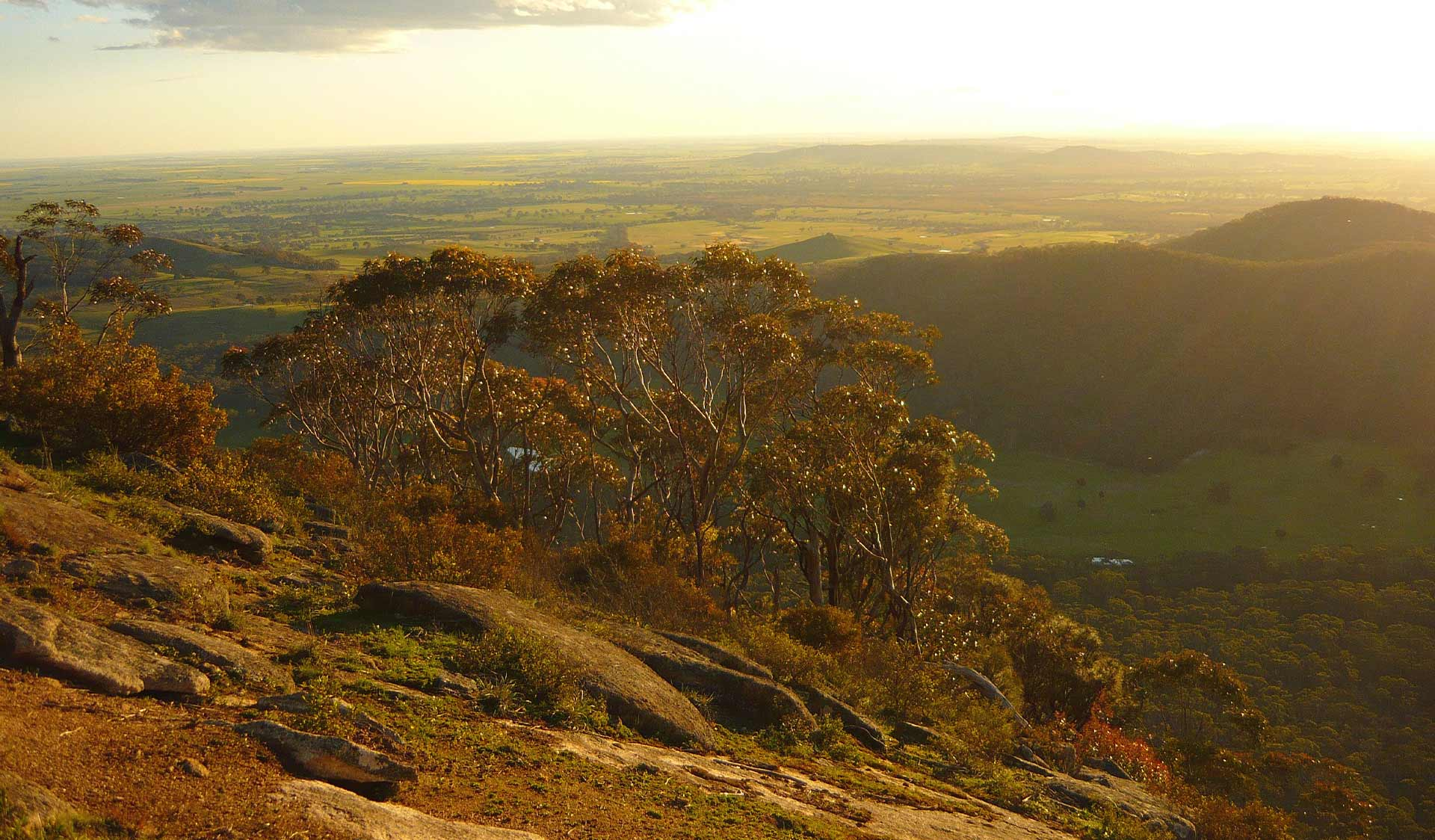 The view from Cave Hill at Mt Buangor State Park at dusk