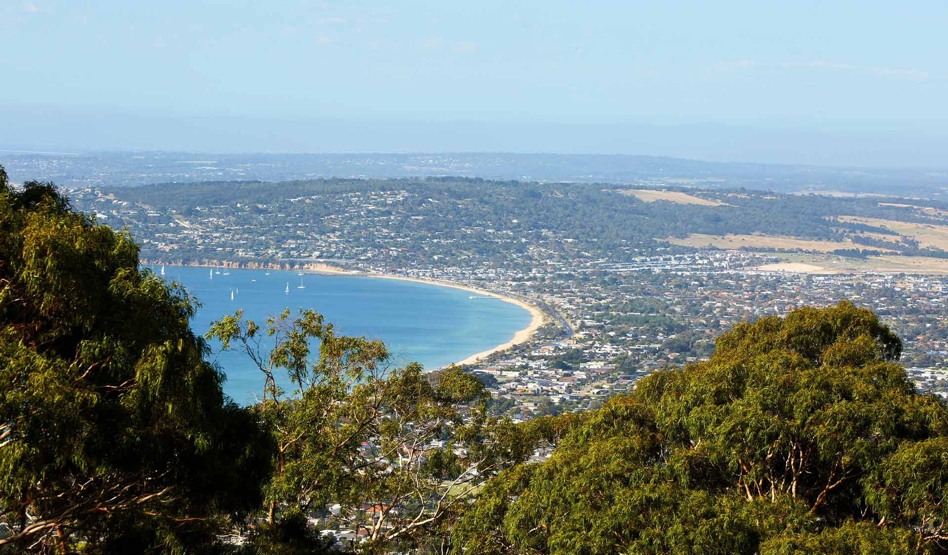 The view of Safety Beach and Port Phillip from the top of Arthurs Seat State Park.