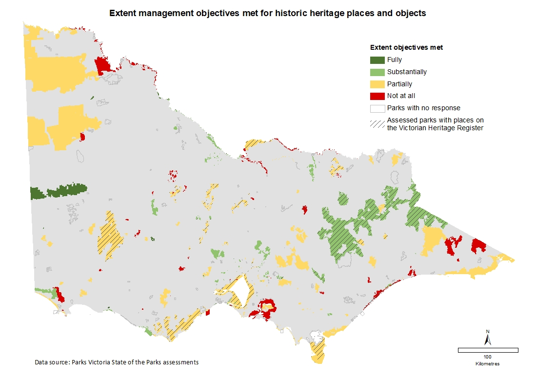 extent management objectives met for historic heritage places and objects