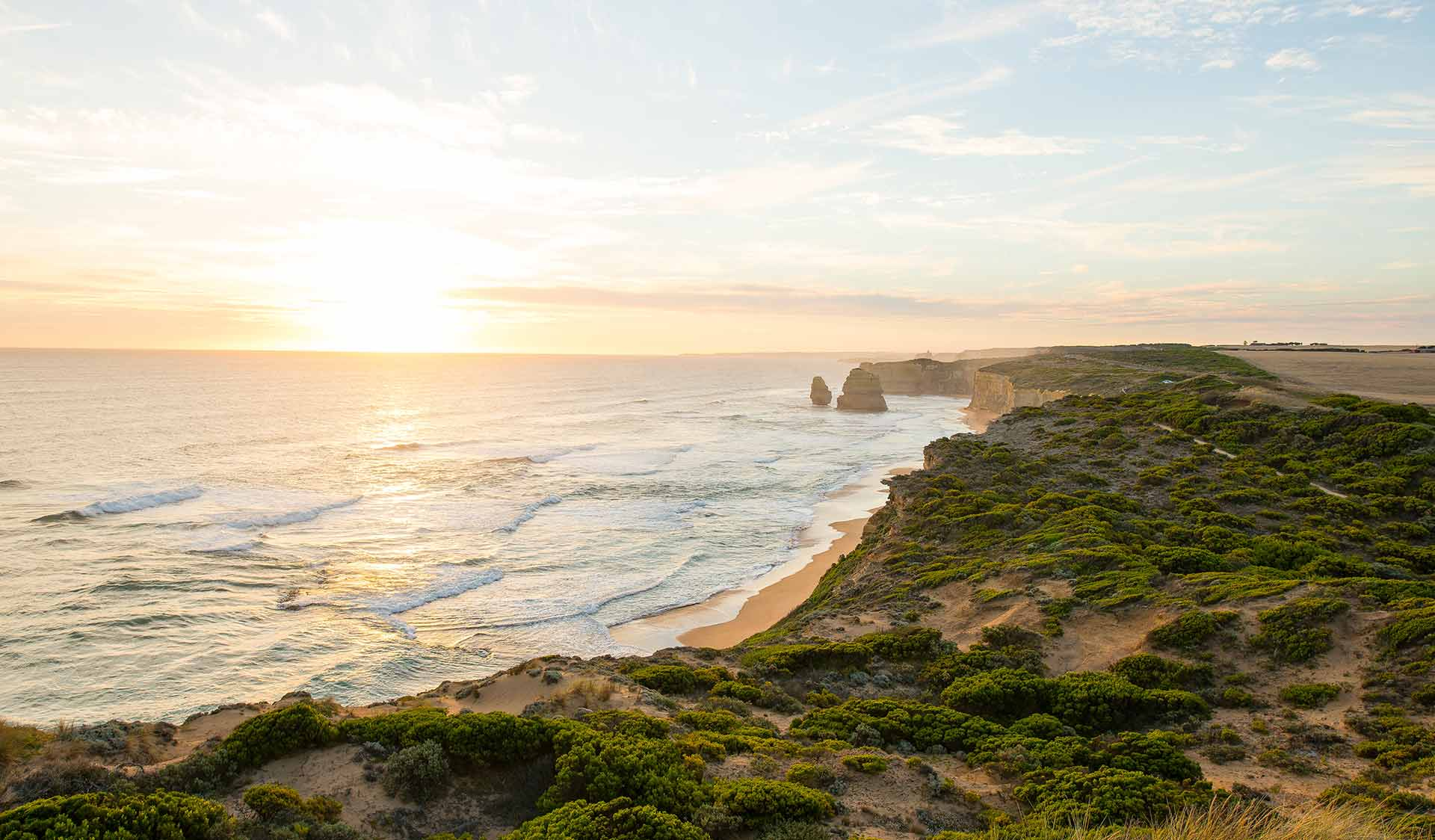 Coastal landscape photo of Port Campbell National Park taken at sunset
