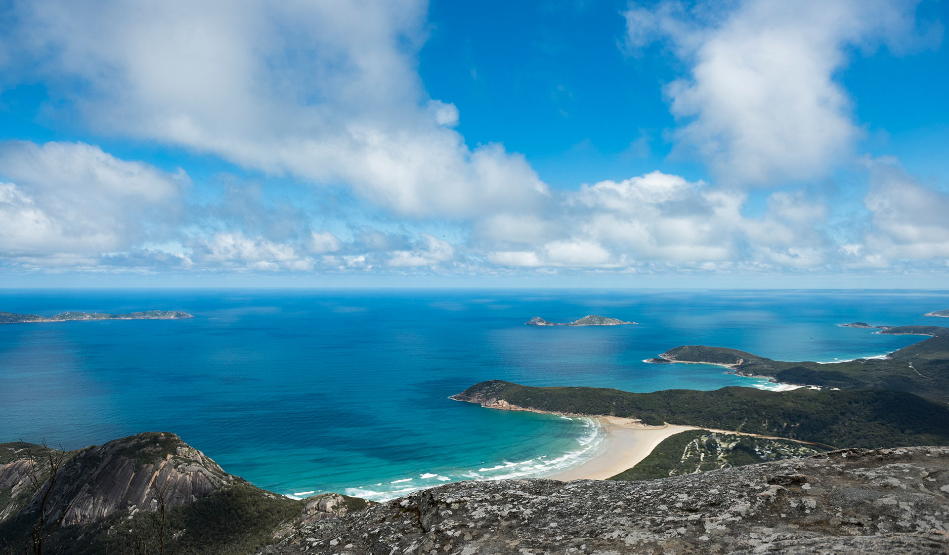 The view of Norman Beach from the summit of Mount Oberon.