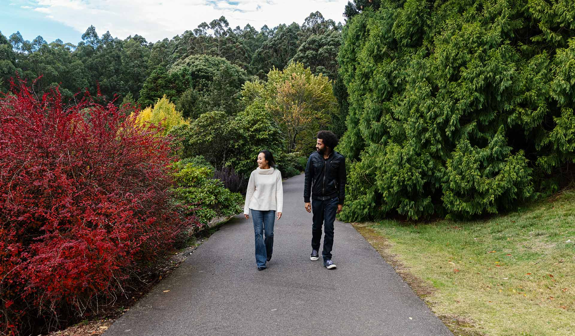A man with an afro wearing a leather jacket and woman wearing a cream knitted jumper walk past a tree with splendid autumn leaves.