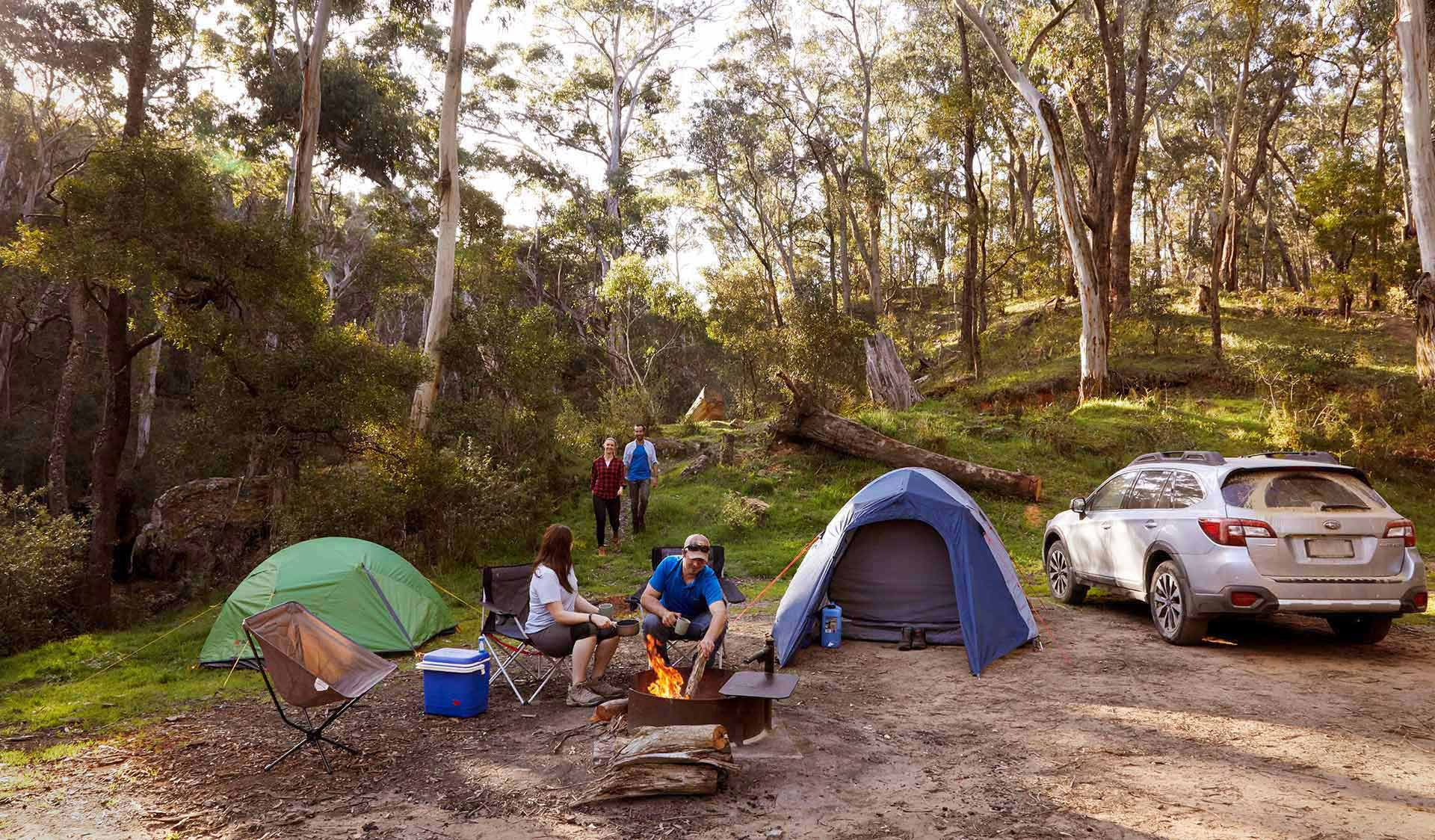 A couple sit around a campsite and welcome their friends to their campsite as they walk in.