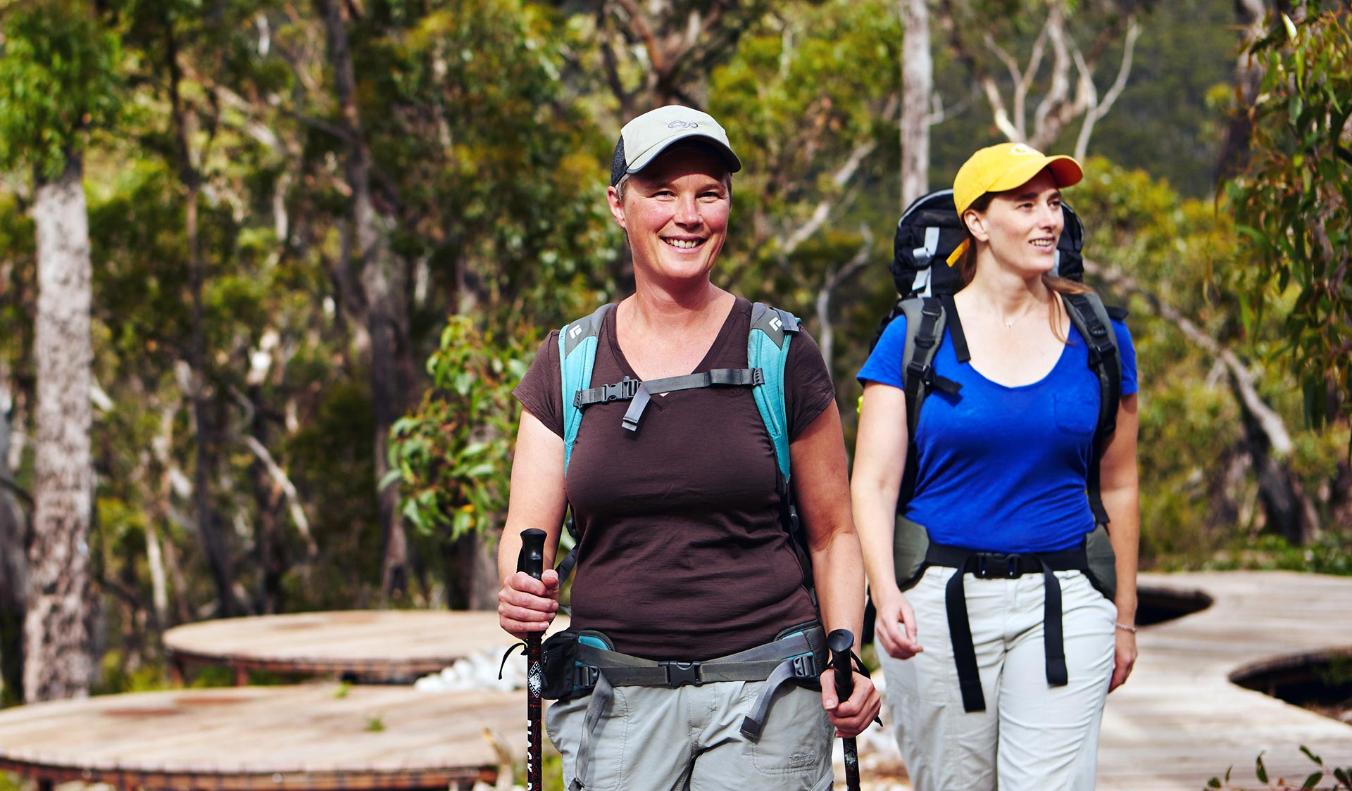 Two women hike through the Grampians National Park.