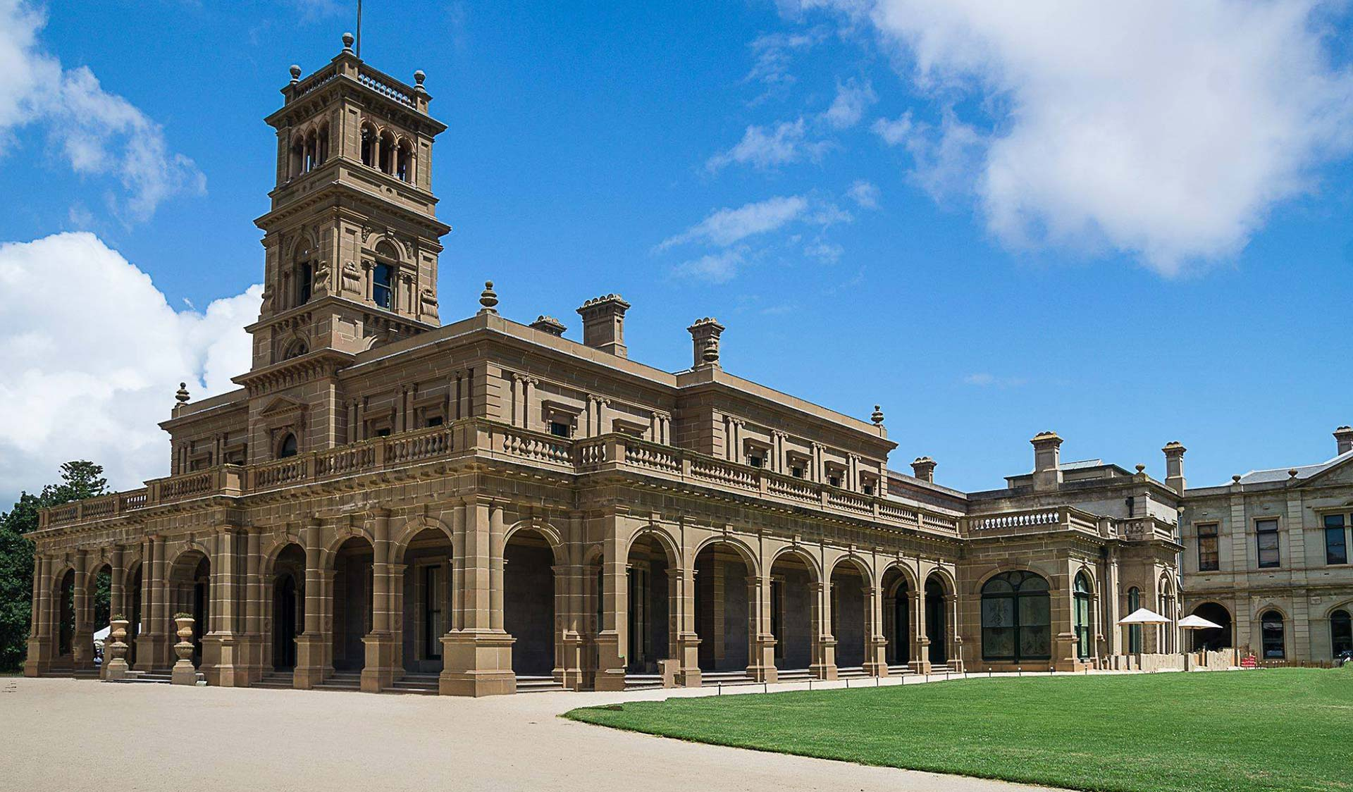 The facade of the historic Werribee Park Mansion.