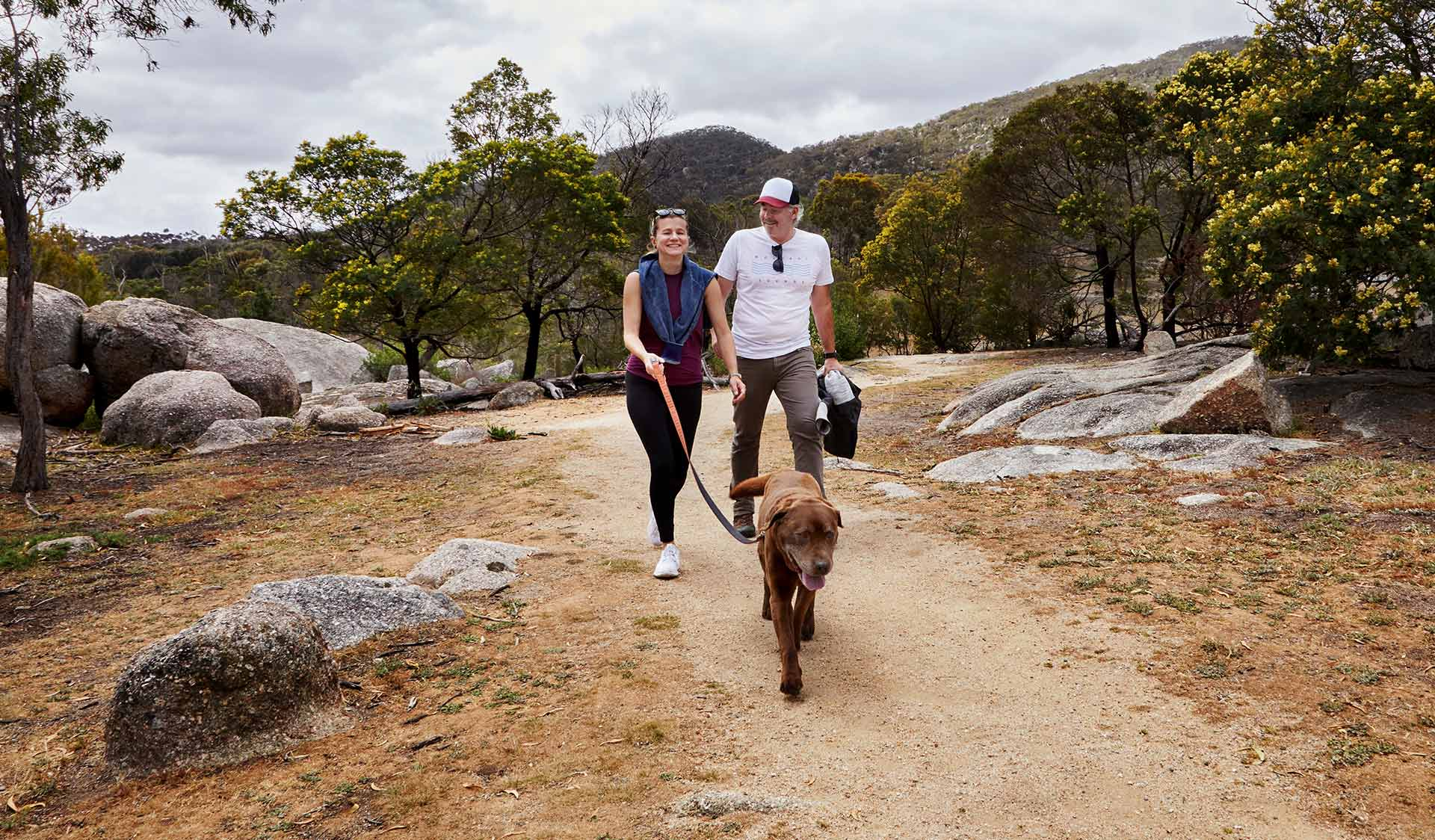 A couple walking their dog at Big Rock Walking Track