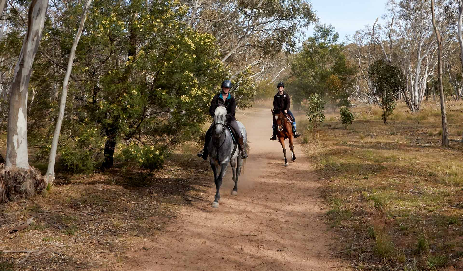Two women ride horses along a dirt path in the You Yangs Regional Park.