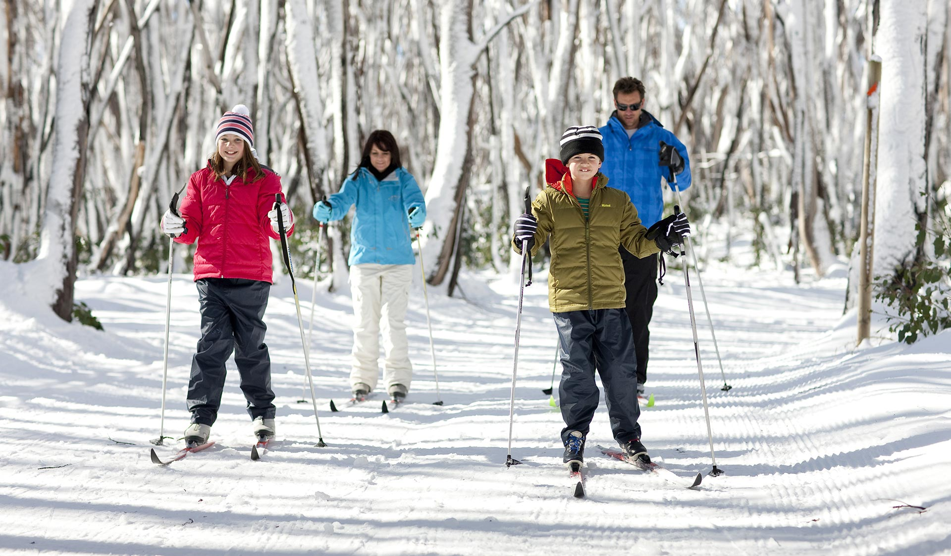A family go cross country skiing.