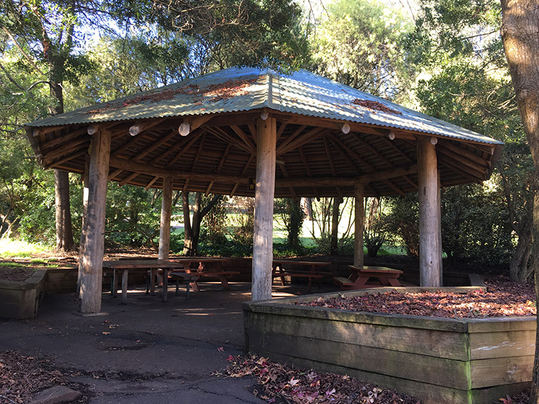 Main picnic shelter at Silvan Reservoir Lower Picnic Ground