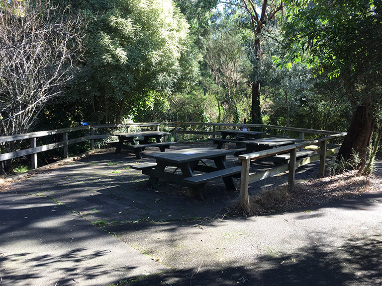Outdoor picnic area at Silvan Reservoir Lower Picnic Ground