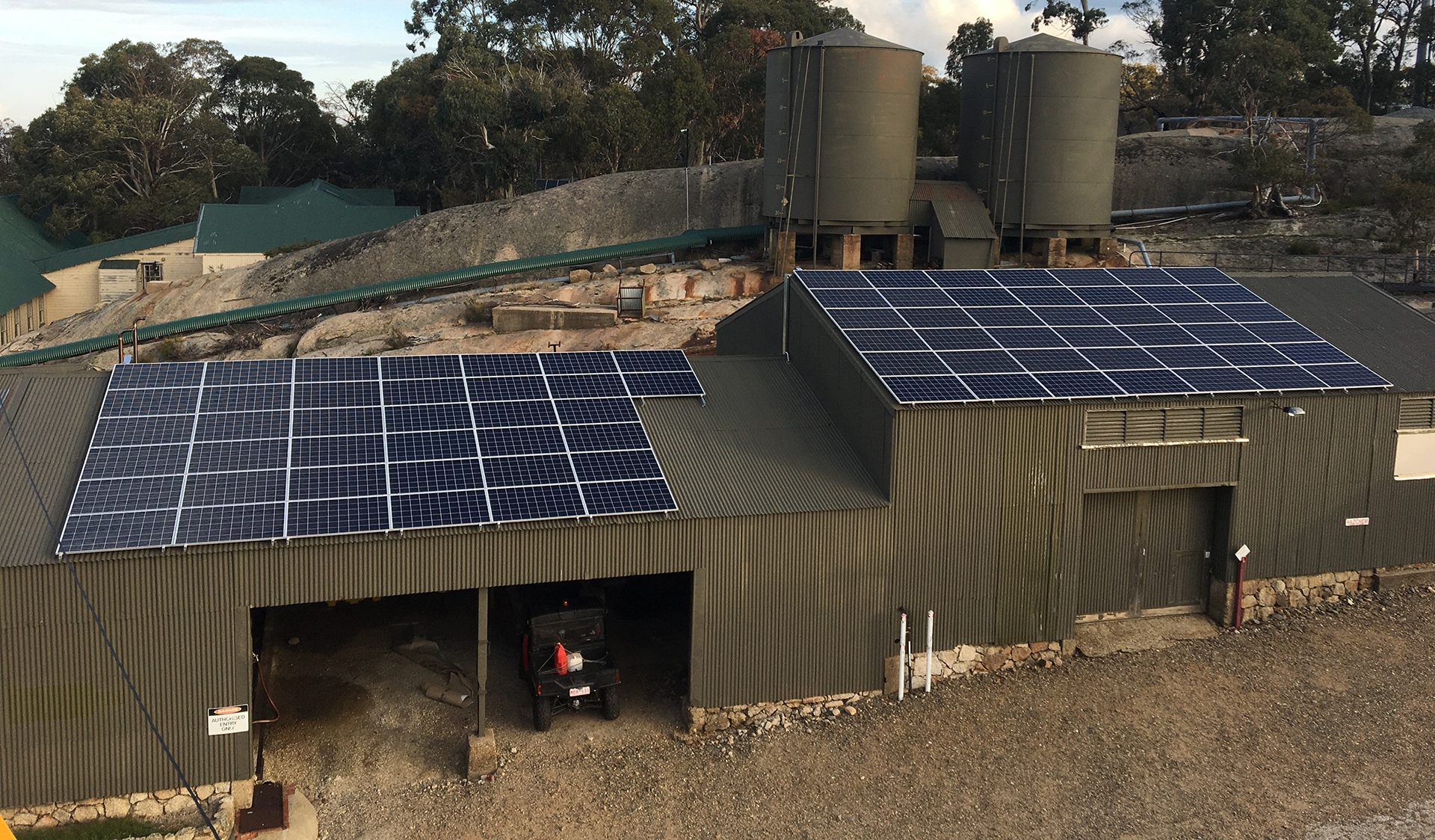 Maintenance works at Mount Buffalo Chalet - new solar system, installed 2019.