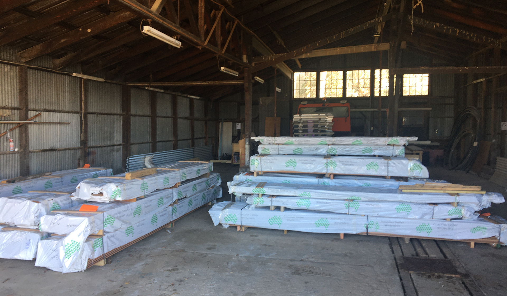 Maintenance works at Mount Buffalo Chalet - new weatherboards arrived for re-cladding work, 20 April 2020.