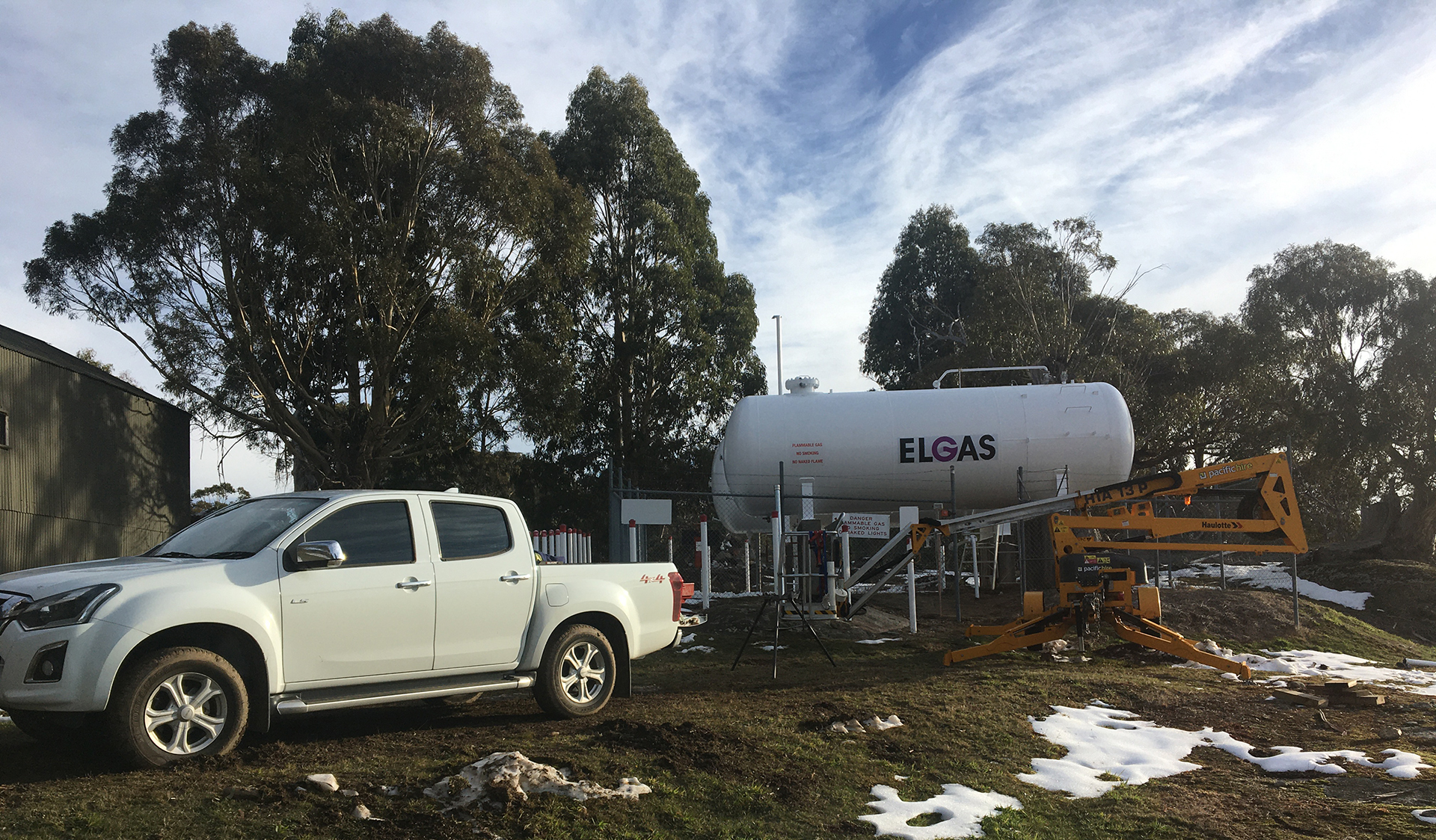 Maintenance works at Mount Buffalo Chalet - Elgas refurbishment of large bullets to provide gas heating for the building, 6 May 2020.