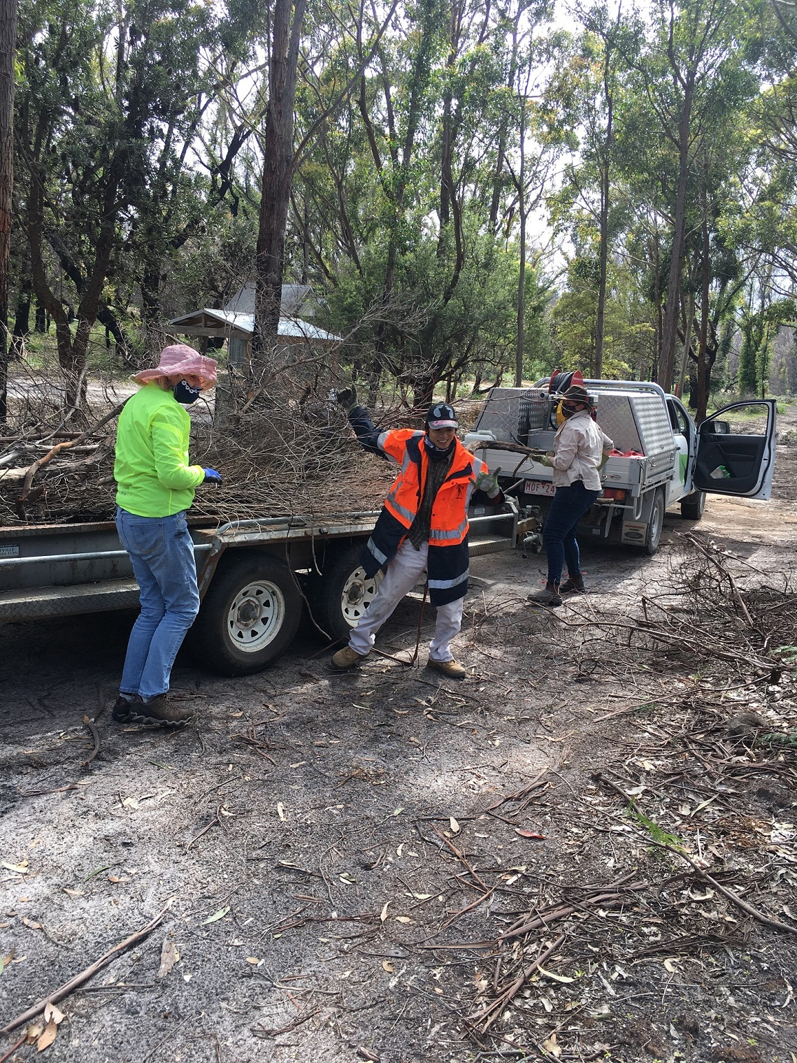 Volunteers enjoying being back to help with bushfire recovery efforts at Cape Conran Coastal Park