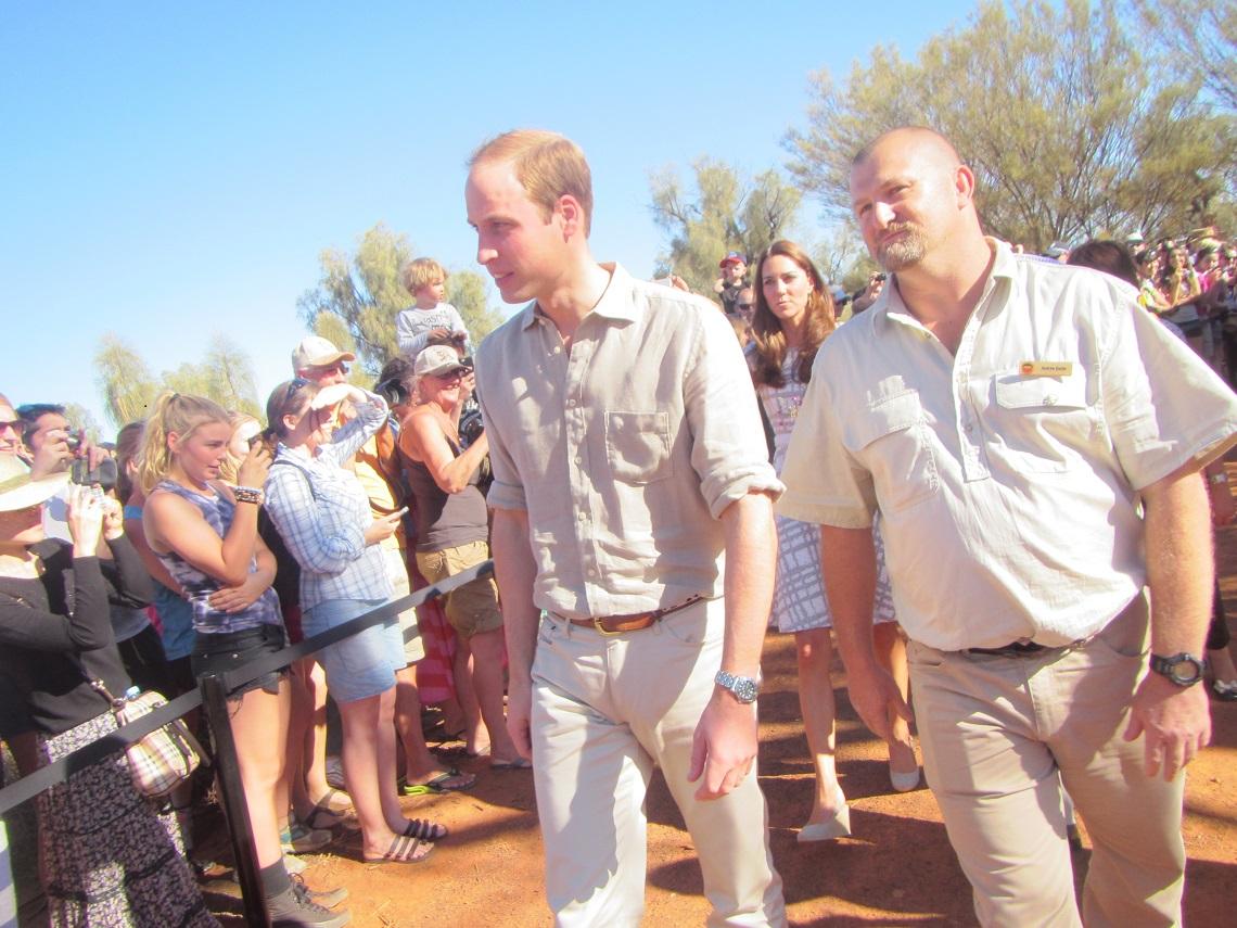 Andy Davies escorts Prince William and Kate Middleton in Uluru-Kata Tjuta National Park 2014
