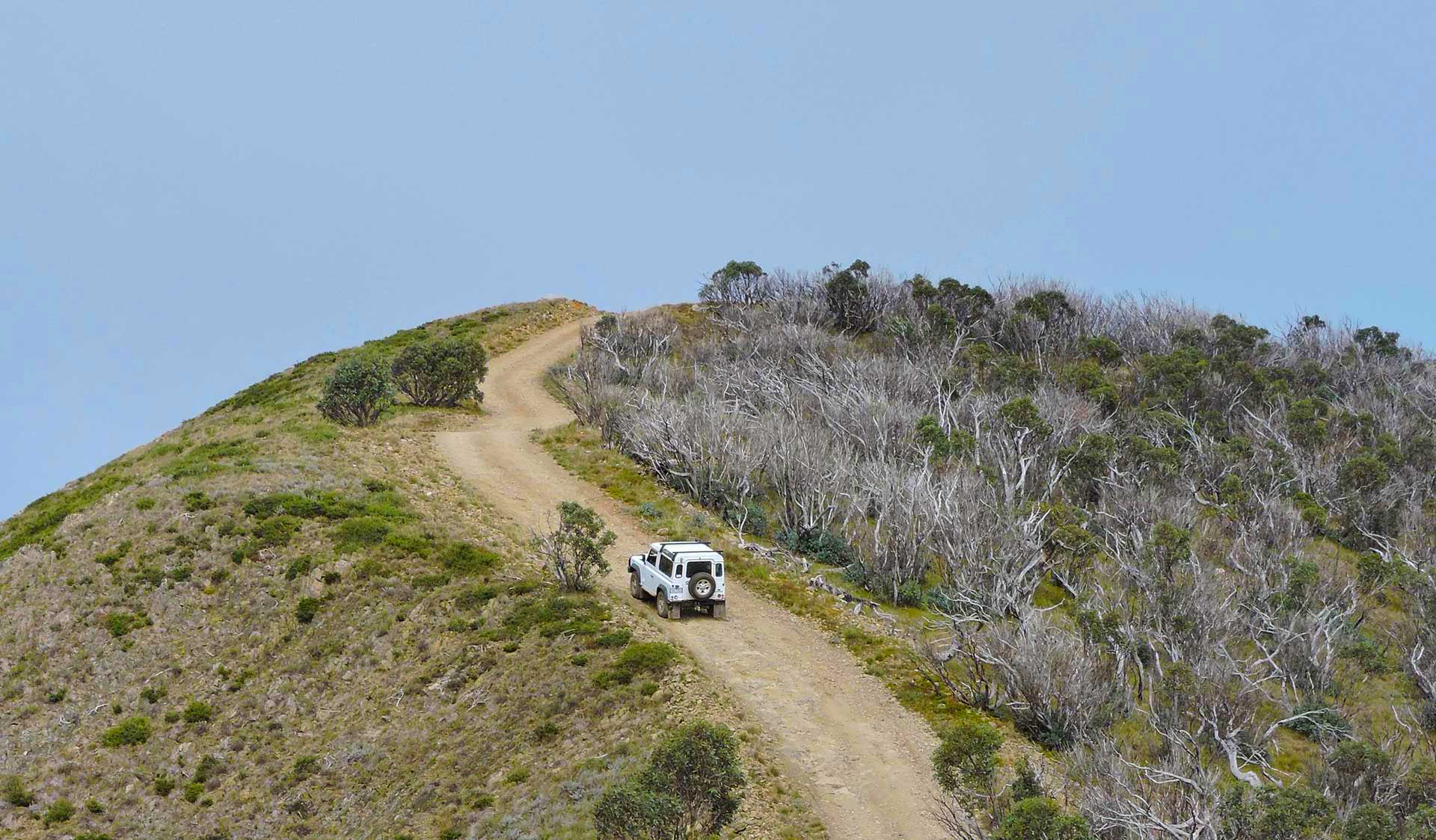 A four-wheel drive climbs to the top of the Blue Rag Range Track.