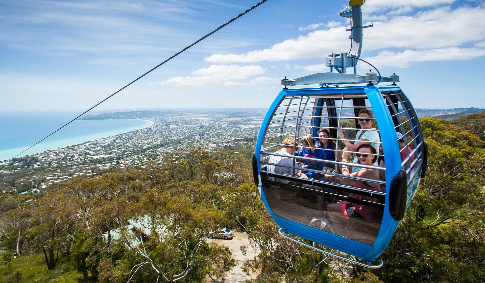 Eagle - the chairlift / gondola takes visitors to the top of Arthurs Seat State Park.