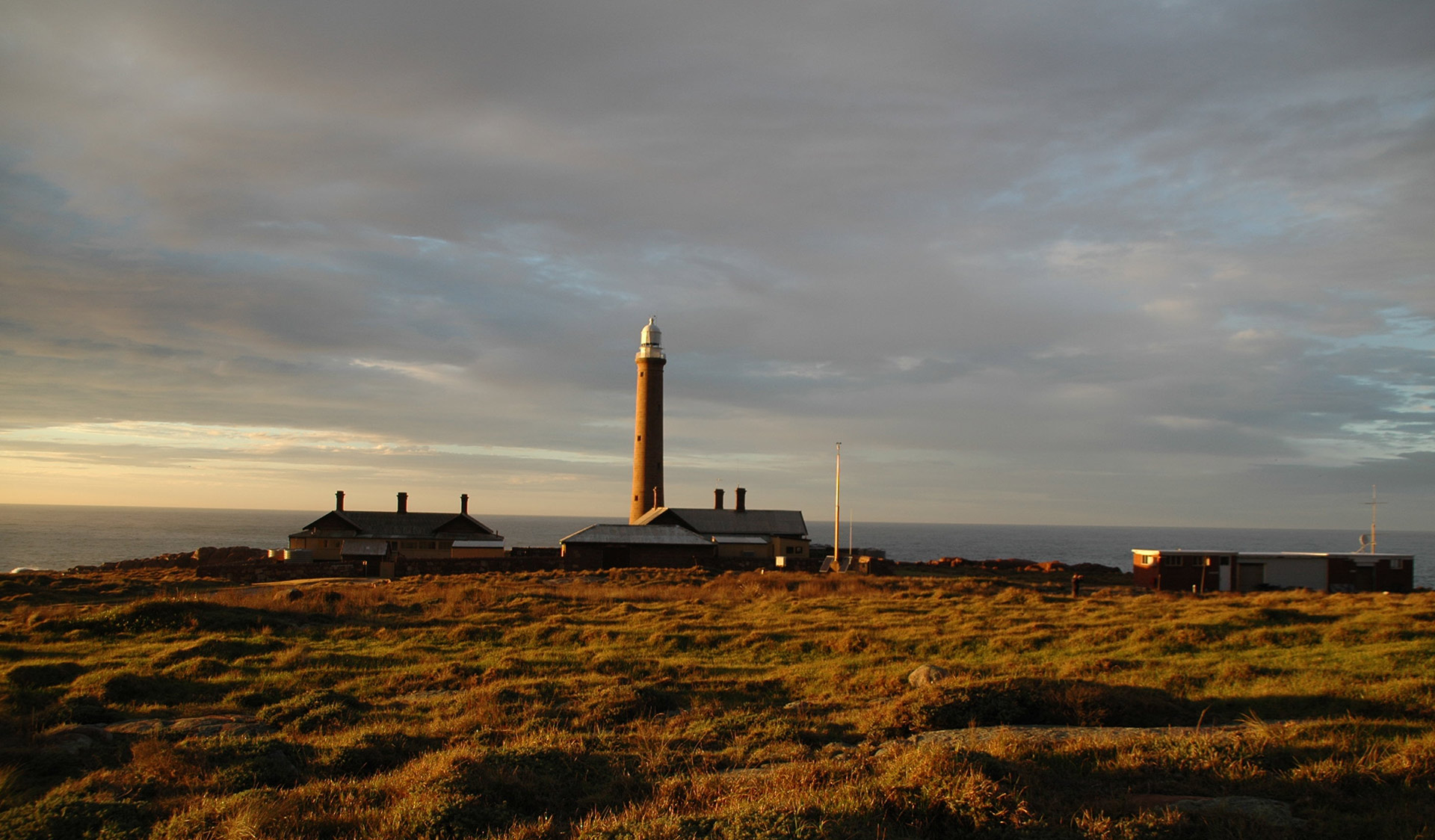 Gabo Island Lighthouse at sunset.