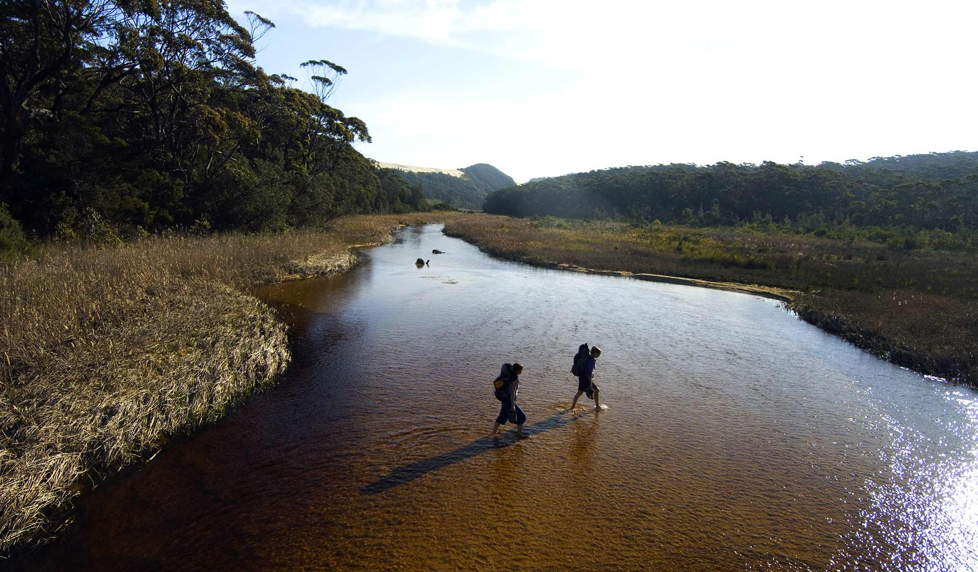 Two hikers cross an estuary in the Croajingolong National Park.
