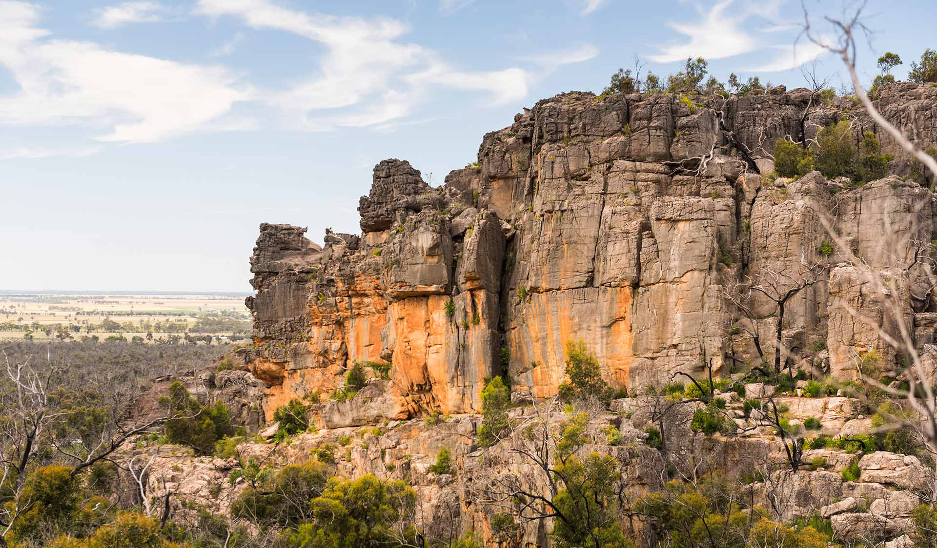 The view of the rock formations at Hollow Mountain in the Grampians National Park.