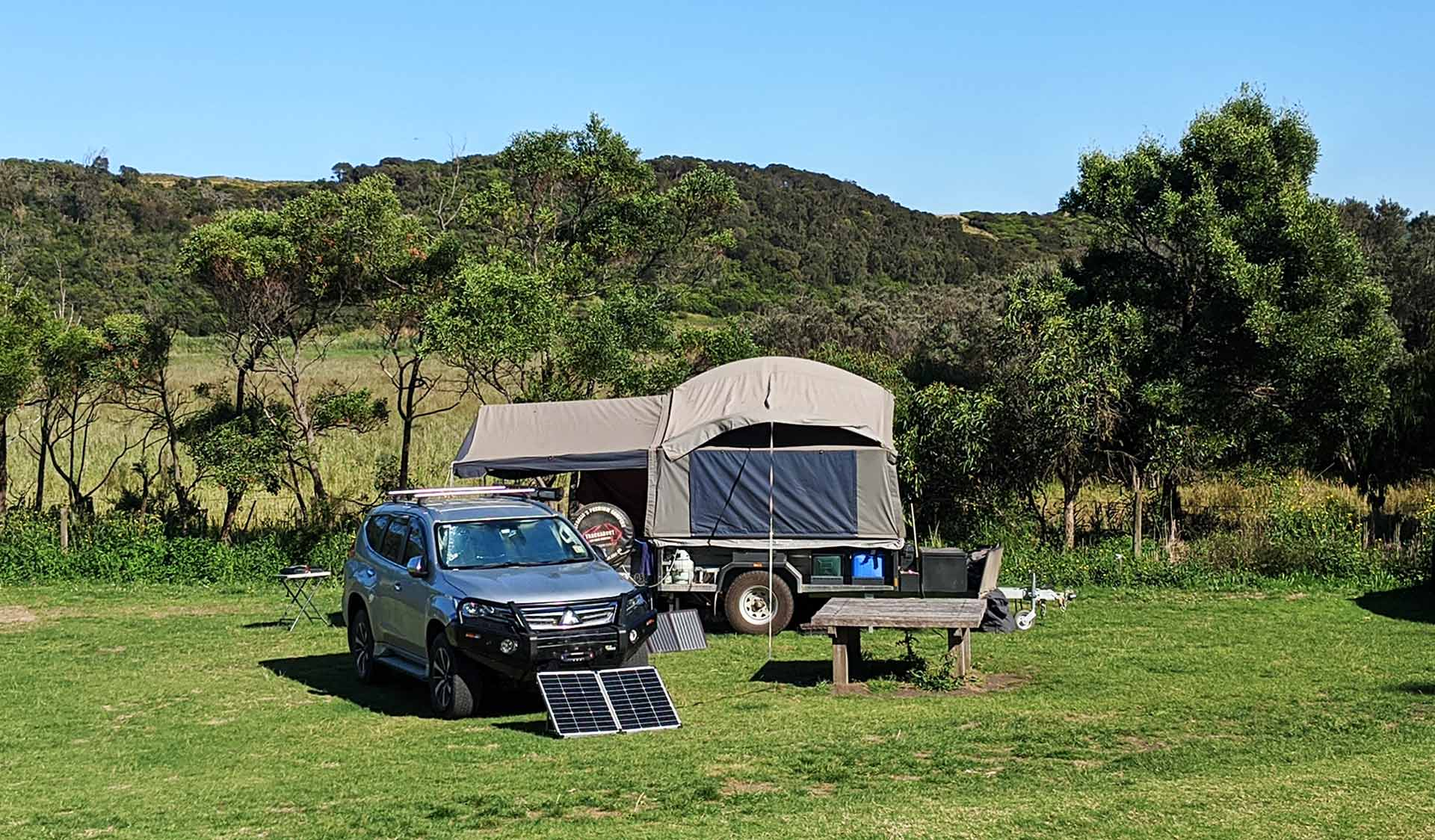 A car camping set up at Aire River East Campground in the Great Otway National Park
