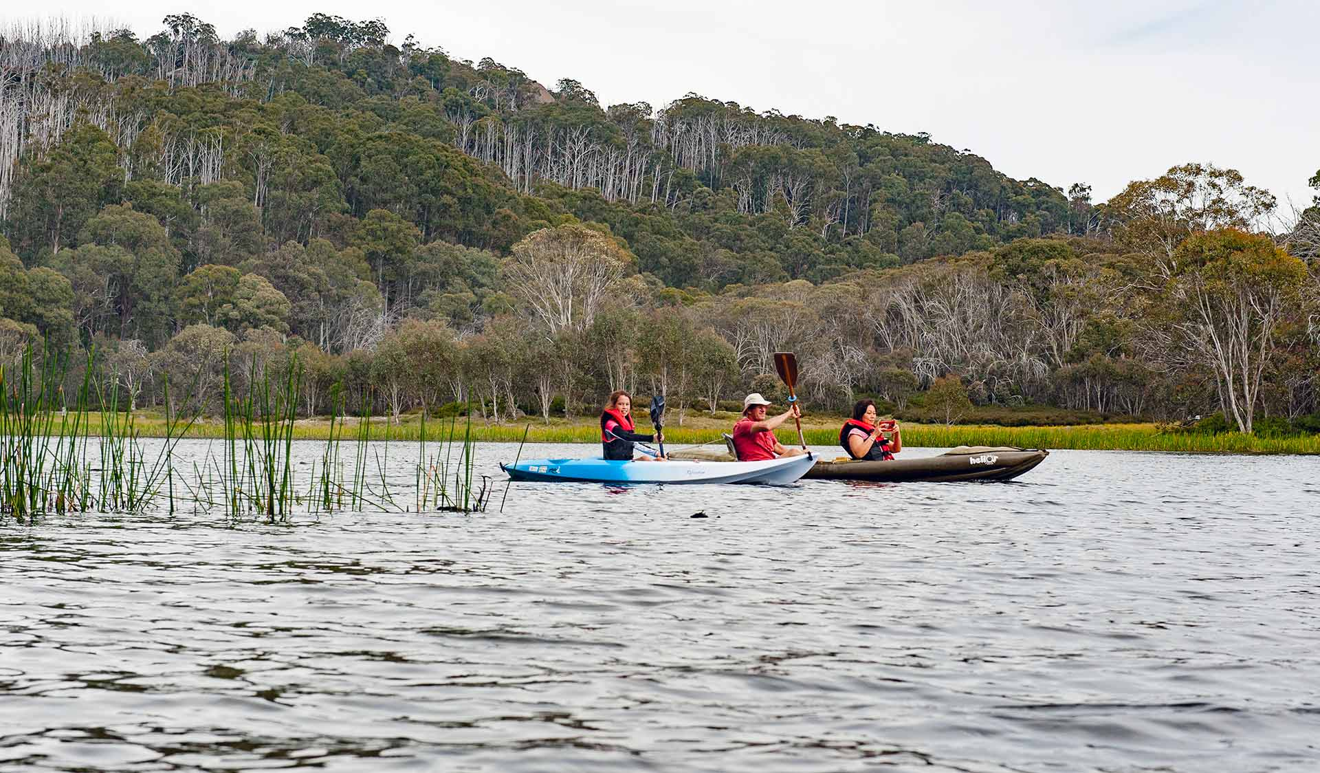 Three friends kayak across the waters of Mount Buffalo's Lake Catani.
