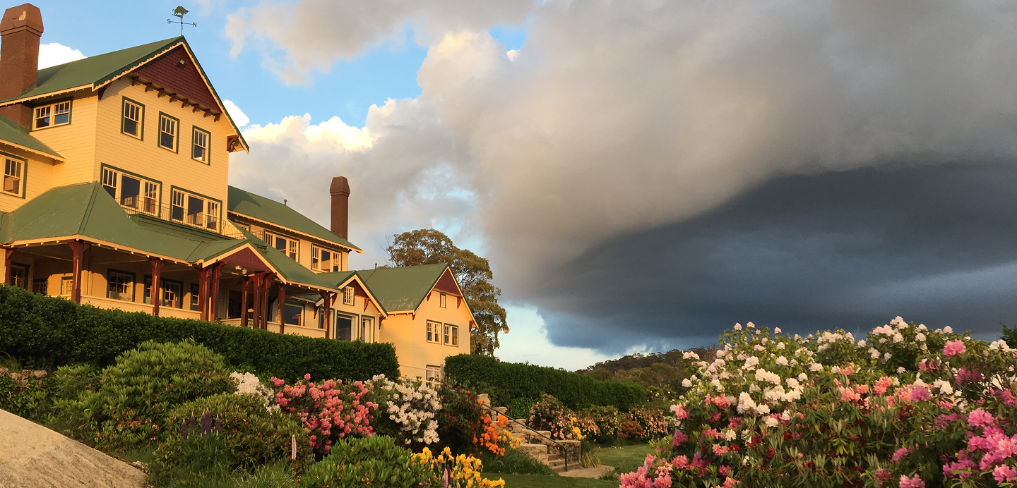 Mount Buffalo Chalet with garden in bloom