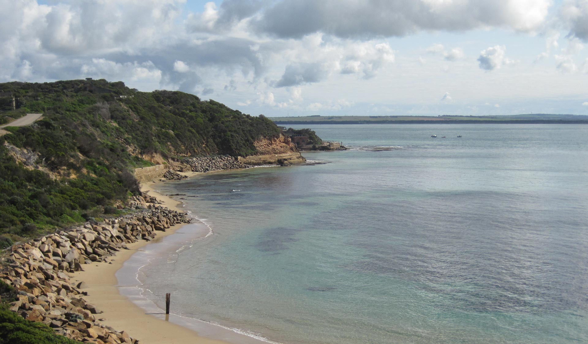 The Heads of Port Phillip taken from Point Nepean National Park.
