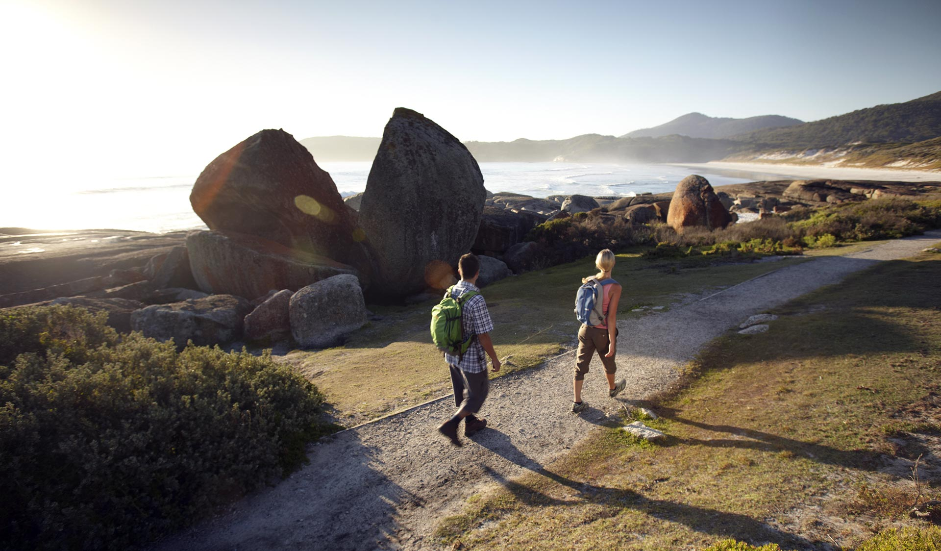 A couple follow the path on the Southern Circuit Overnight Hike.