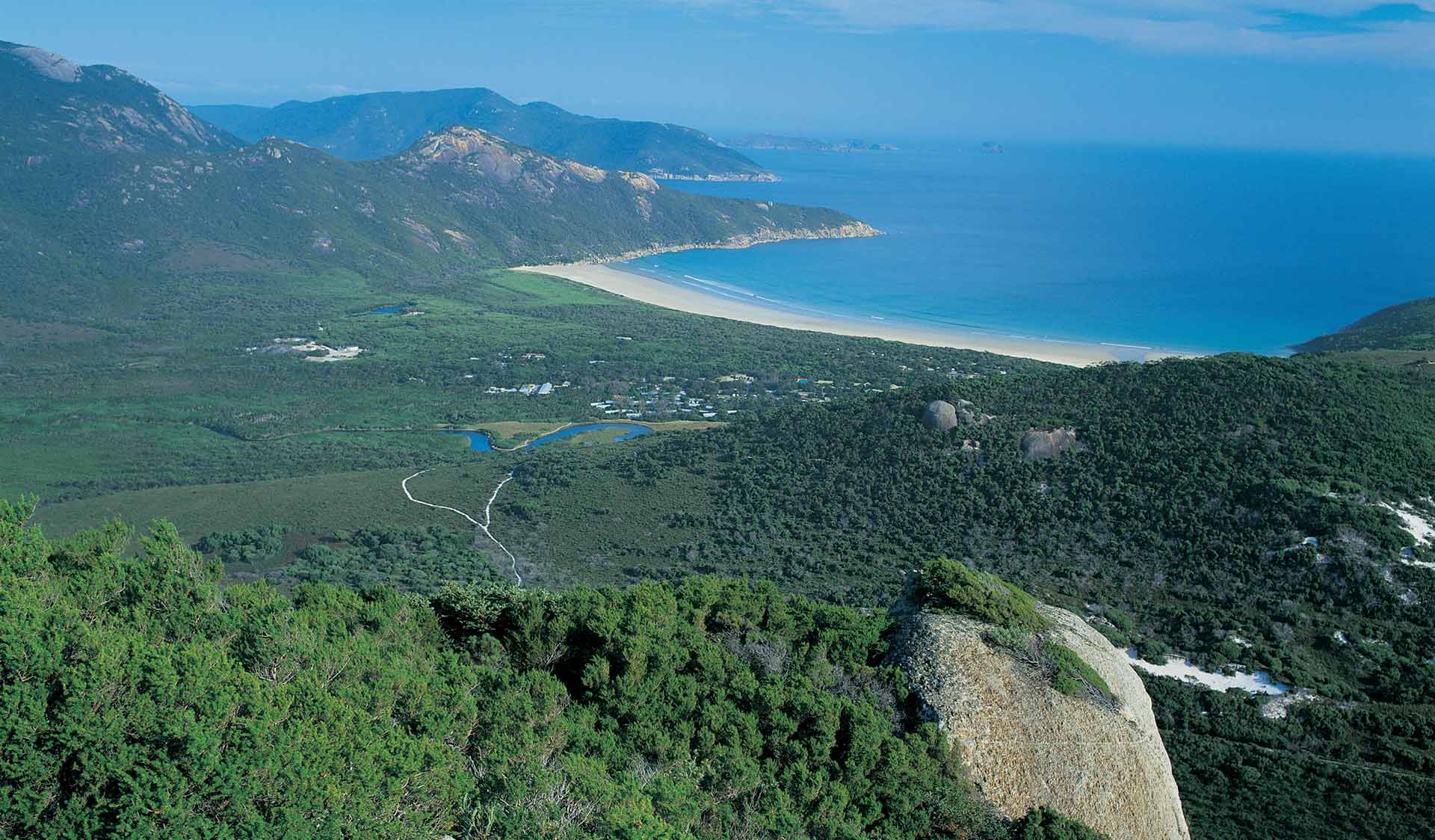 The view from the top of Mt Bishop in Wilsons Promontory National Park.