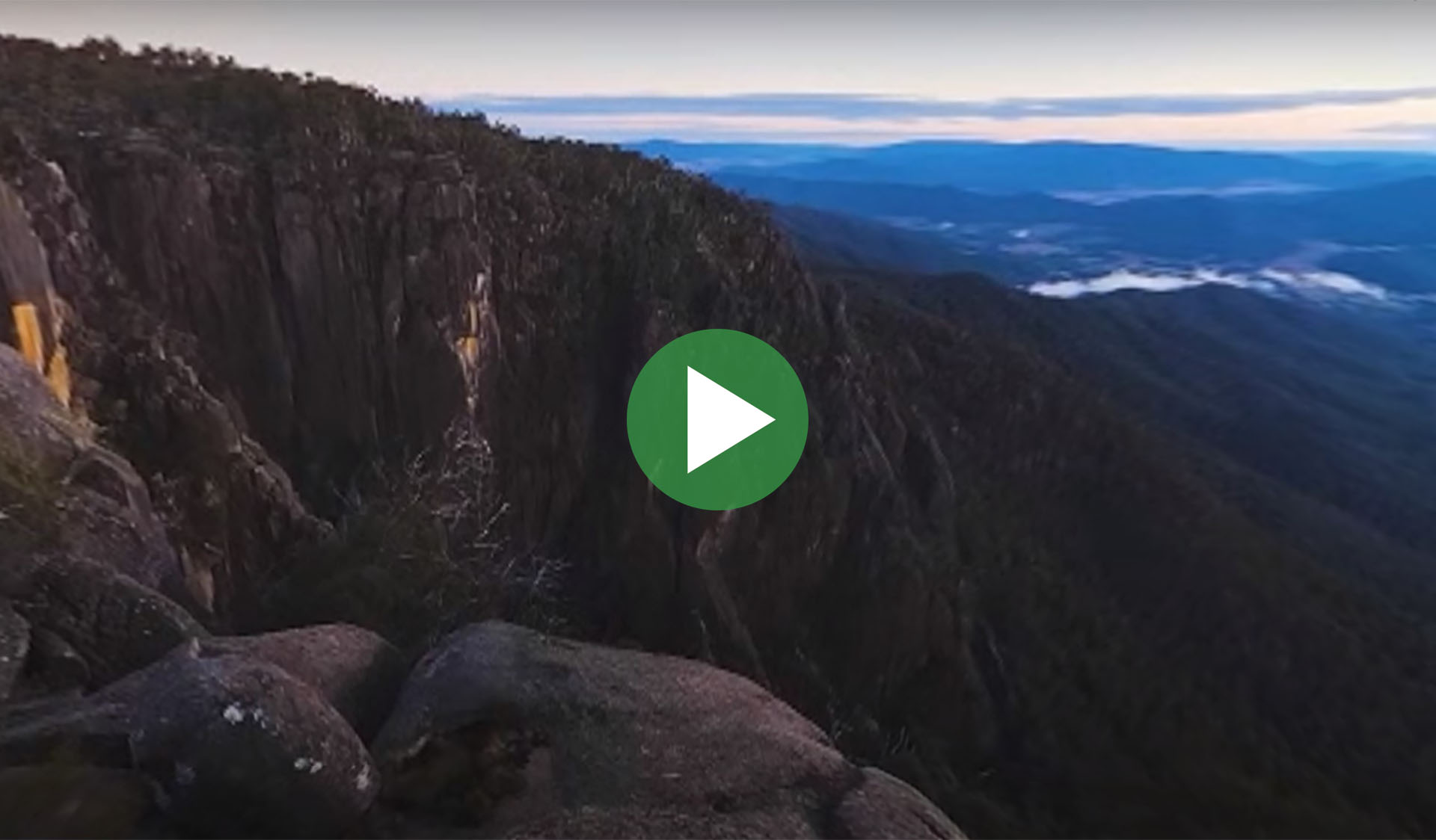 Still image from 360-degree time-lapse video of Mount Buffalo National Park, with play icon overlay.
