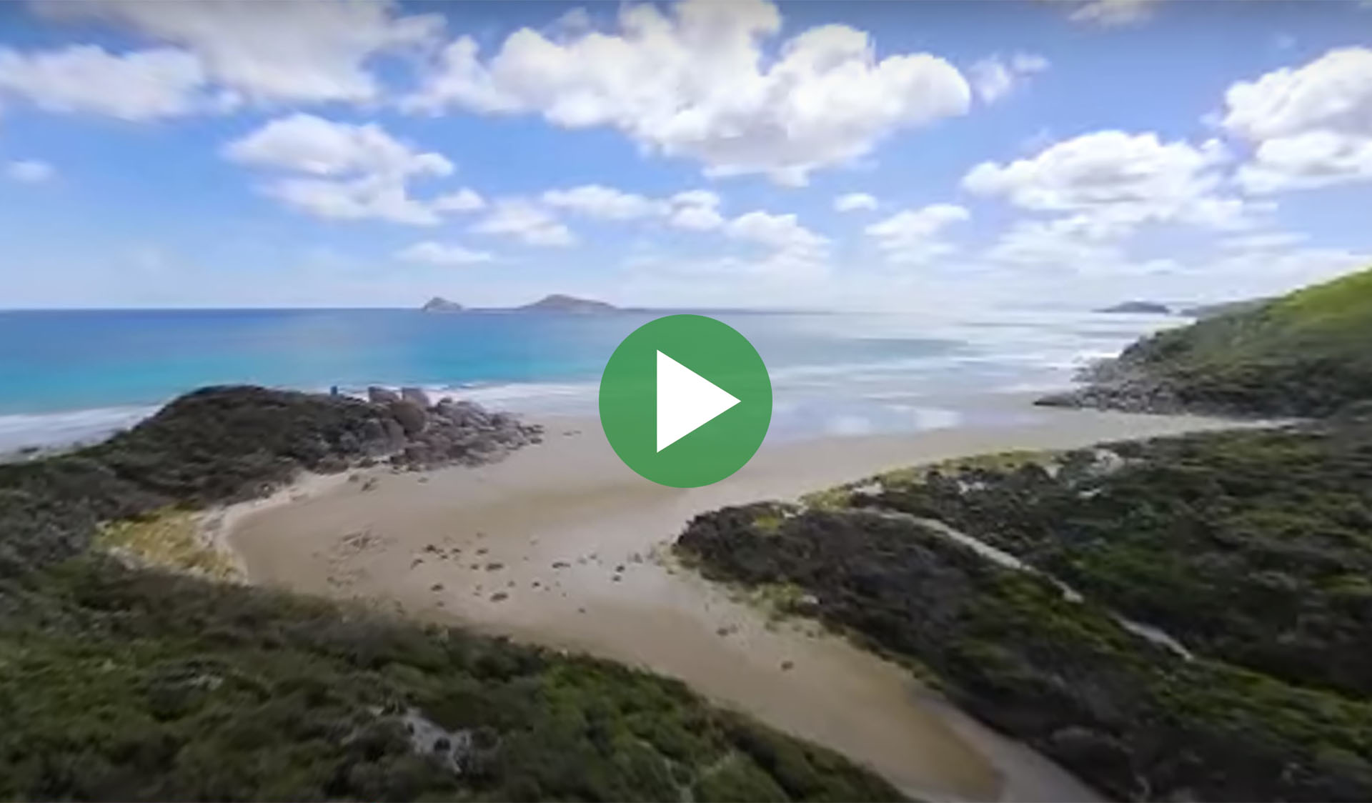 Still image from 360-degree time-lapse video of Wilsons Promontory National Park, with play icon overlay.